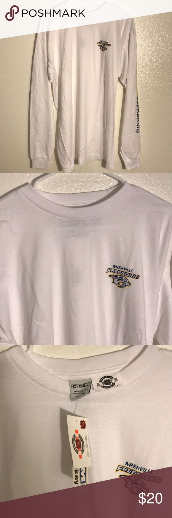 CCM Nashville Predators Long Sleeve Size XL CCM Nashville Predators Long Sleeve Size XL, Brand New, Never Worn or Used, 🎄WILL SHIP IN ONE DAY🎄All bundles of 2 or more receive 20% off. Closet full of new, used and vintage Vans, Skate and surf companies, jewelry, phone cases, shoes and more. CCM Shirts Tees - Long Sleeve