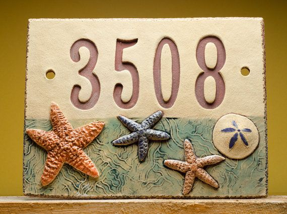 HOUSE NUMBER SIGN  beach  Handmade custom ceramic by Fine Clay Art, $95.00 by Marion Pollman