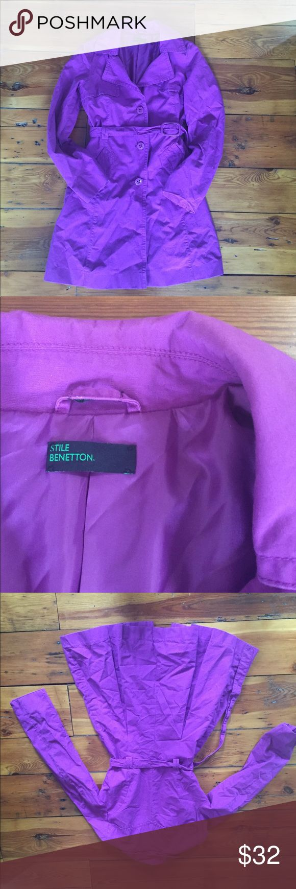 The cutest purple trench coat! Beautiful button up and tie-waist purple trench coat. Pleats in the back. Size 40. Fits like a size small. Exterior is 100% cotton. Interior is 100% polyester. Jackets & Coats Trench Coats