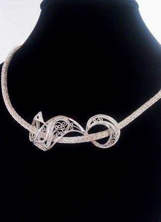 Silver Filigree Viking Knit Necklace