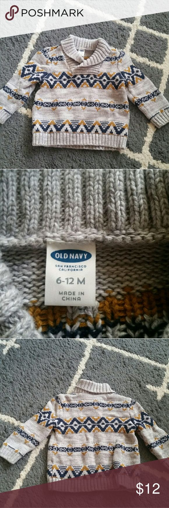 Cozy dressy sweater Size 6 to 12 months. Color gray with pattern. Chunky sweater.. warm and cozy with a options of dressing it up or down. Worn a couple of times in great condition. Feel free to ask any questions. Bundle to save on shipping up to 5lbs.  ♡♡♡Thanks for visiting my closet ♡♡♡ Old Navy Shirts & Tops Sweaters