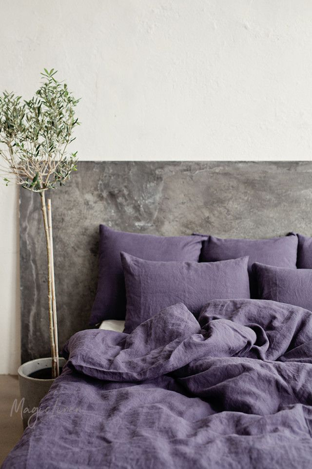 Purple Charcoal Linen Duvet Cover In 2019 Wish List