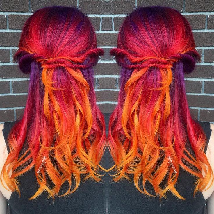 Fiery sunset hair by @lysseon