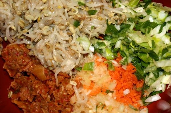 Vegan Korean dumpling filling–kimchi (spicy fermented cabbage), bean sprout, le… – Candice Jones