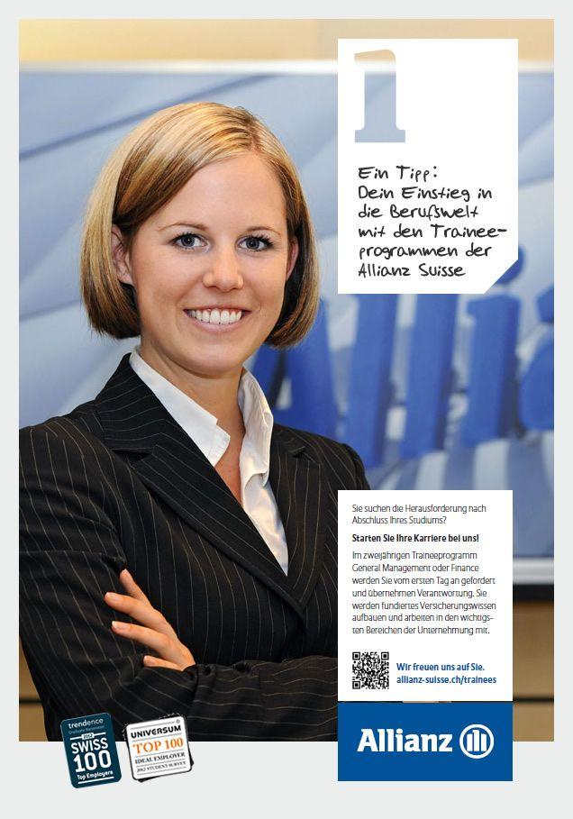 Dein Einstieg in die Berufswelt mit den Traineeprogrammen der Allianz Suisse: http://www.allianz.ch/karriere