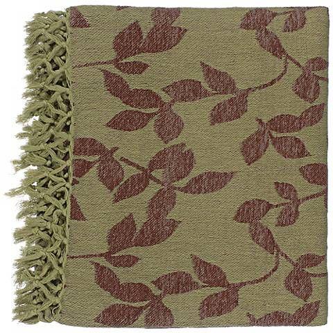 Surya Timora Green and Brown Throw Blanket