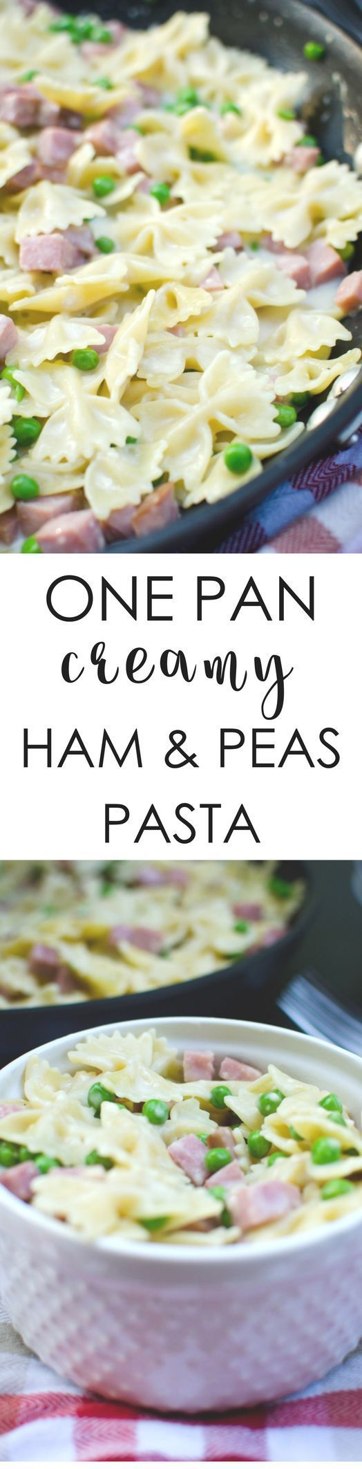 One pan creamy ham and peas pasta: delicious pasta perfect for a quick dinner. Loaded with ham, bowties, and peas!