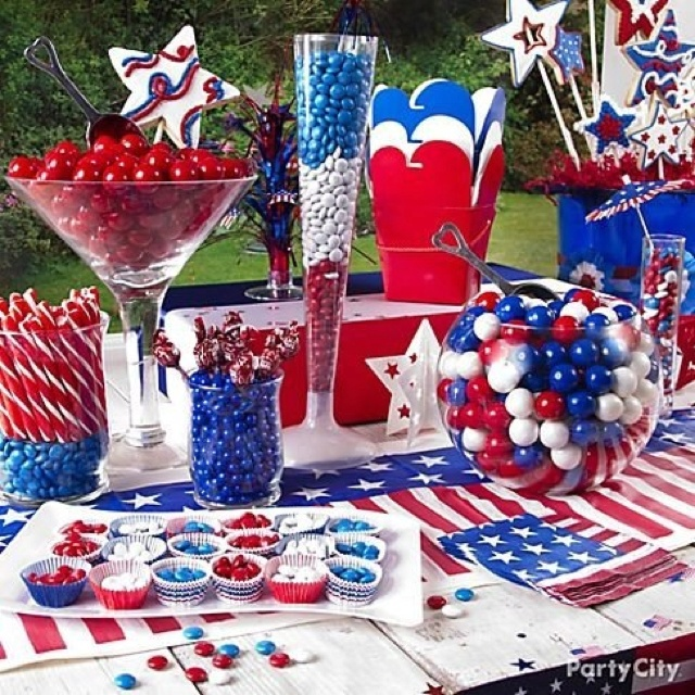 30 Patriotic Home Decoration Ideas In White Blue And Red: 4th Of July Candy Buffet. Love It!