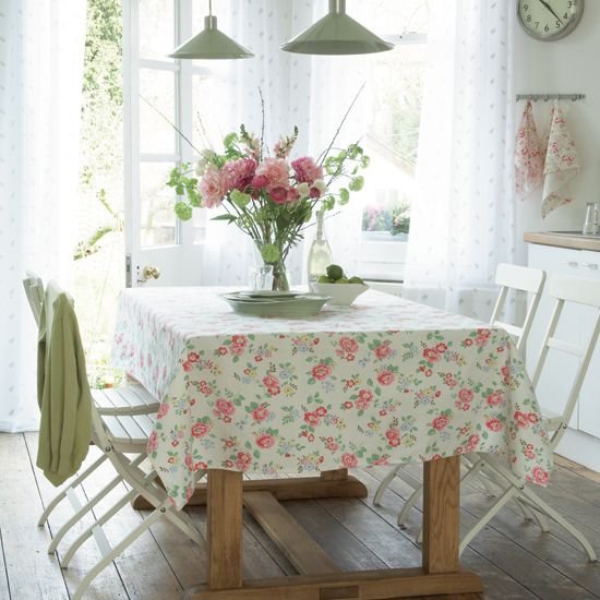 Kitchen with Cath Kidston fabric #kitchen #shabby #chic #flowers #white #wood #table