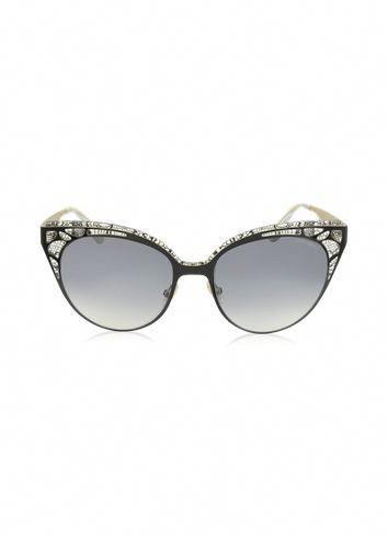 18b9ac4f5f3 Jimmy Choo ESTELLE S ENYLF Black Metal Lace Cat Eye Sunglasses  JimmyChoo