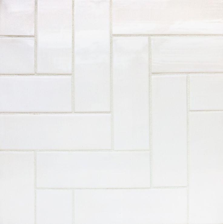 White Herringbone Tile | Tile Design Ideas