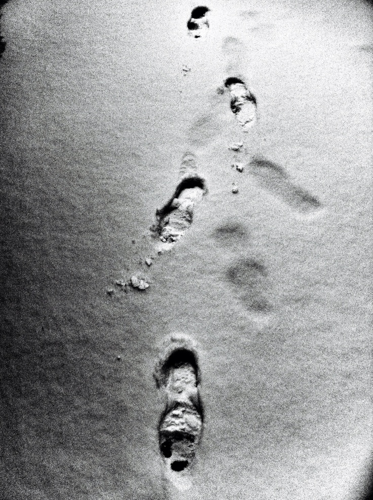 Foot print on the snow