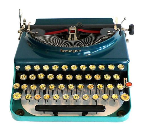 The original portable blue Remington typewriter, 1927.