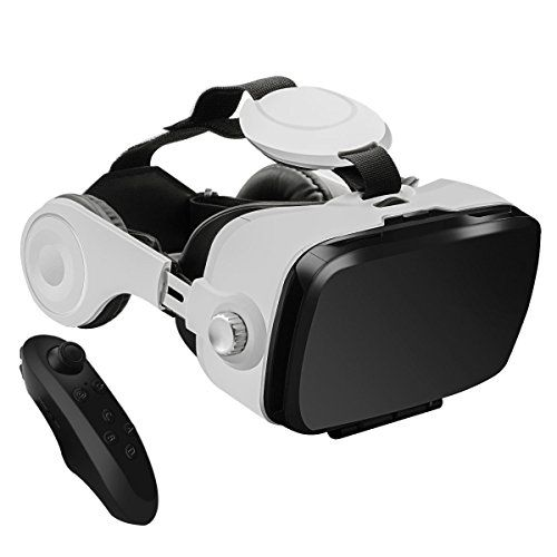 "3D VR Glasses, YESSHOW 3D Virtual Reality Headset Box for Mobile Phone VR Games and 3D Movie with Remote Control Compatible with iPhone 6S/6 Plus/ 5S/5 Samsung S8/S7 and Other 4.0""-6.0"" Smartphones  ♥ [Private 3D Cinema]: You can slightly adjust the position of the spherical resin lens through moving the button on the top of the 3D VR so as to get a better experience. VR Headset makes you enjoy IMAX luxury giant screen theater, panoramic theatre experience FOV up to 120 degree, incredi..."