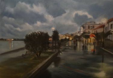 "Saatchi Art Artist ΑγγελικΗ  Aggeliki; Painting, ""After rain"" #art  Oil  Size: 45 H x 60 W x 2 cm  View from Preveza, Greece - NOT AVAILABLE"