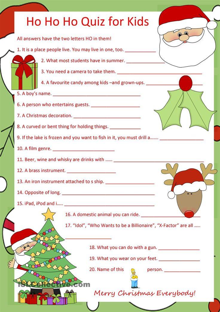 Ho Ho Ho Quiz for Kids   Christmas quiz, Quiz, Kids