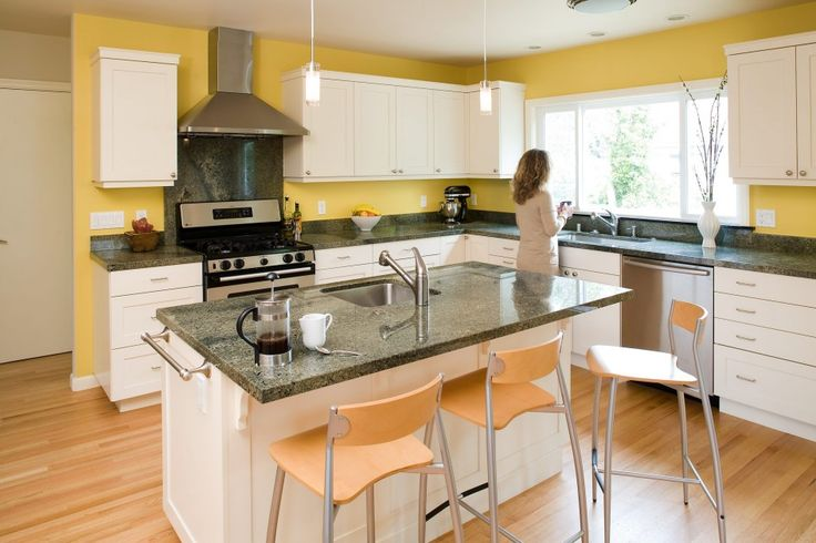 Furniture, Light Laminate Wood Flooring Appealing White Kitchen Island With Breakfast Bar And Granite Top Modern Upholstered Bar Stool Yellow Wall L Shaped White Kitchen Cabinet Stainless Steel Kitchen Hood White Kitchen Window: Awesome New Kitchen Island Ideas