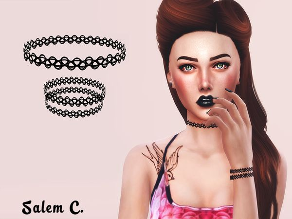 The Sims Resource: Tattoo Choker and Bracelet • Sims 4 Downloads