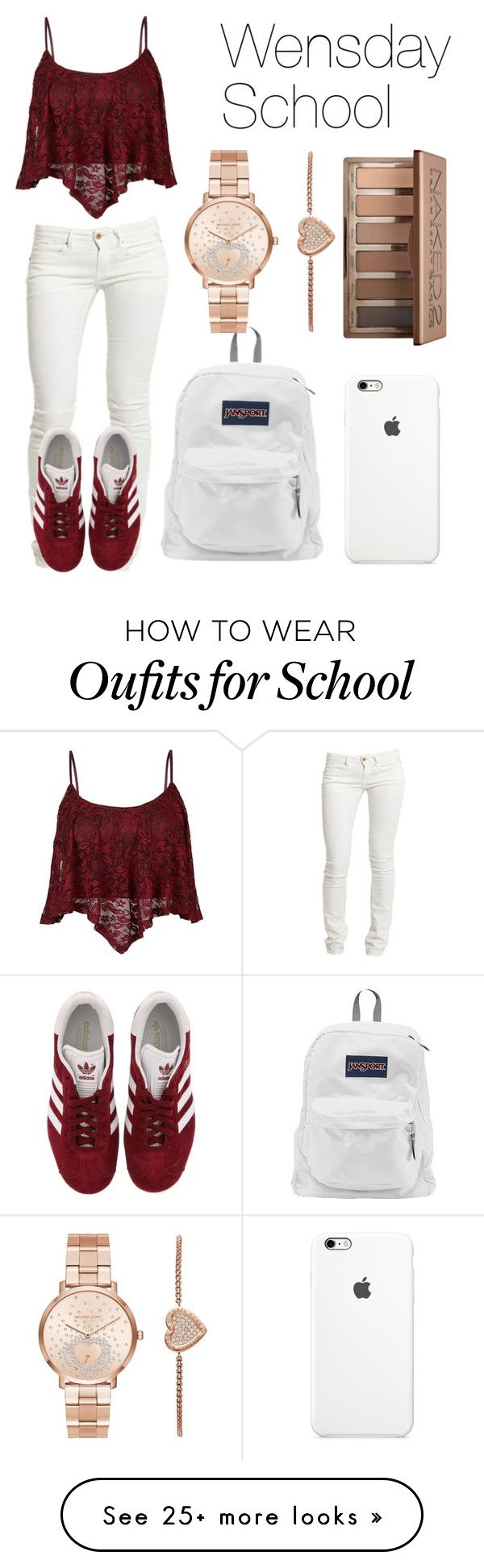 """Wednesday School"" by kellyaguilera on Polyvore featuring Replay, adidas, JanSport, Michael Kors, Urban Decay, school, teen, copycat and causual"
