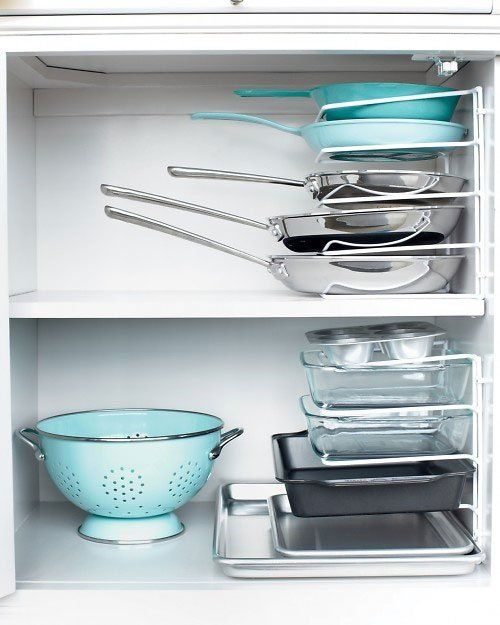 Smart Idea: Use a Wire Organizer, Turned On Its Side, To Stack Your Pans | file under: #organize the kitchen