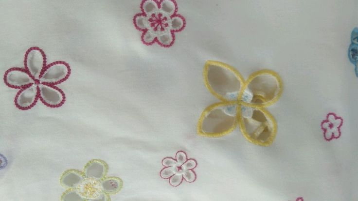 Pottery Barn Kids Crib Skirt Embroidered Flowers #PotteryBarnKids