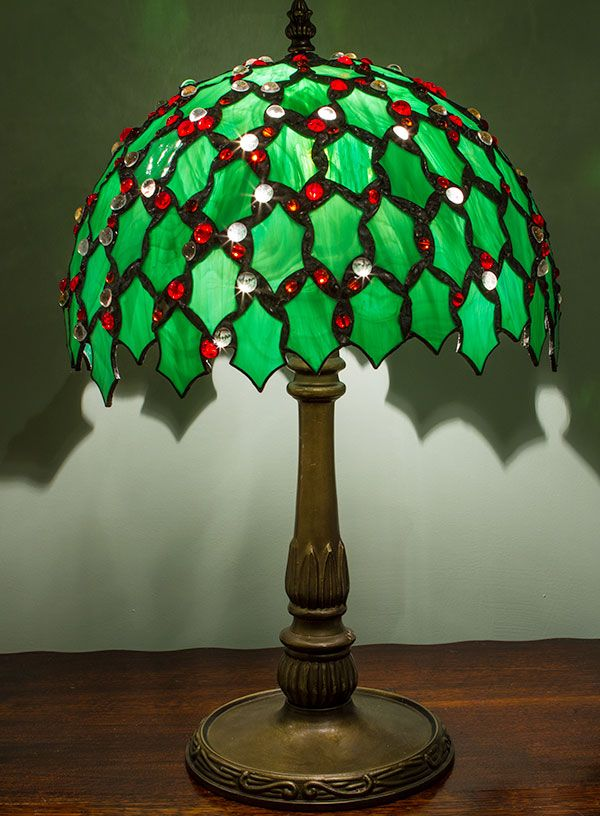Holly Lamp Stained Glass Holiday Pinterest Glasses