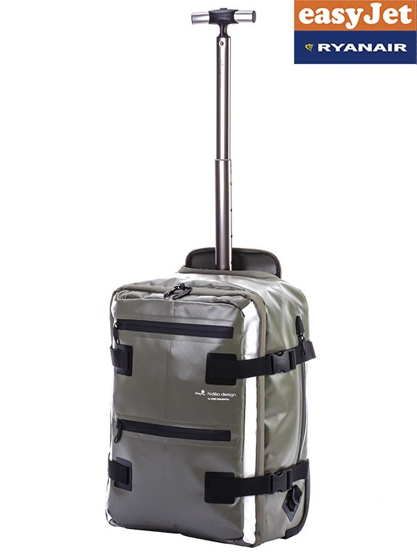 Soft Sided Waterproof Carry On Cabin Backpack Trolley Rucksack with Wheels - Khaki