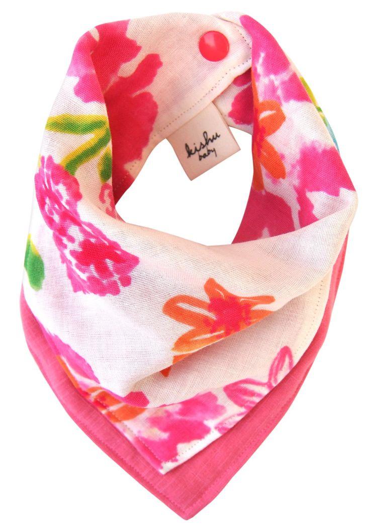 Kishu Baby Girl's Flower Scarf Bib   Reversible Bandana Bib   One Size (pink)