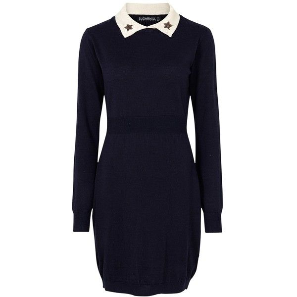 Sugarhill Boutique Rachel Star Jumper Dress, Navy ($61) ❤ liked on Polyvore featuring dresses, maxi dresses, navy blue dress, long sleeve dress, long sleeve mini dress and blue maxi dress