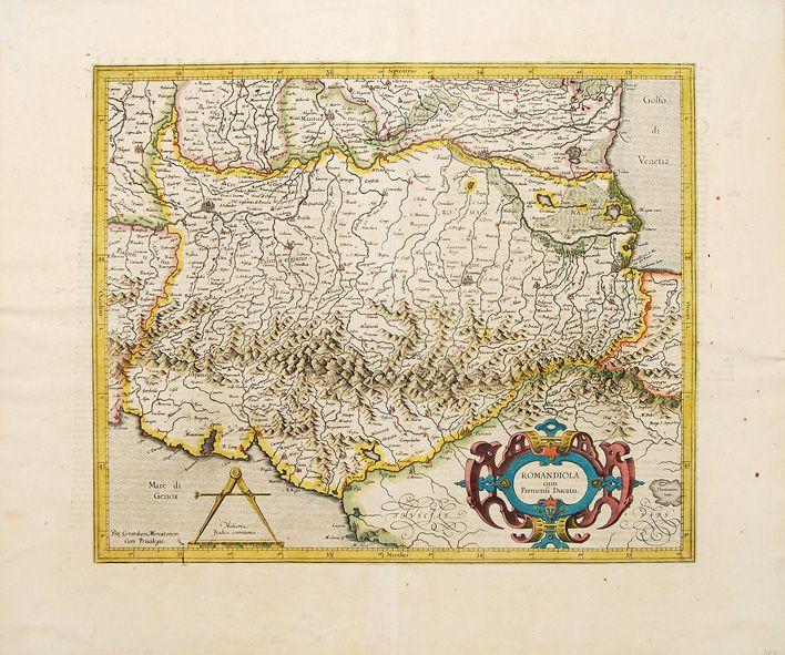 """""""Romandiola cum Parmensi Ducatu"""", di Mercator edita da J.Hondius 1606"""