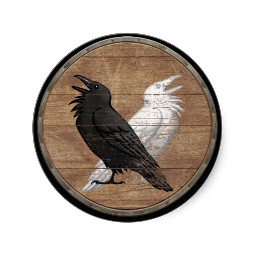 viking shield sticker odins ravens