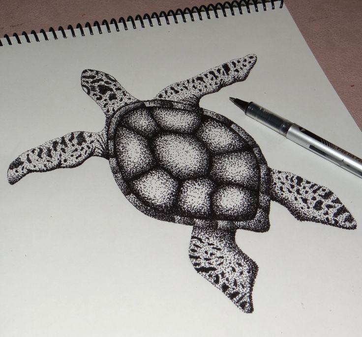 Ilustración en puntillismo. Esfero sobre papel. animales en vía de extinción