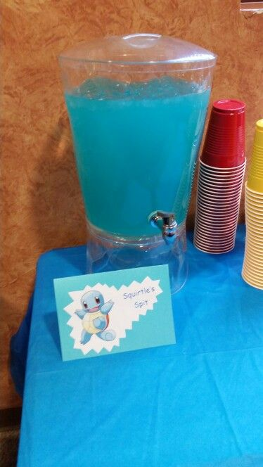 Pokemon Theme Birthday Party-Squirtle Spit Hawaiian Punch Lemonade Sprite