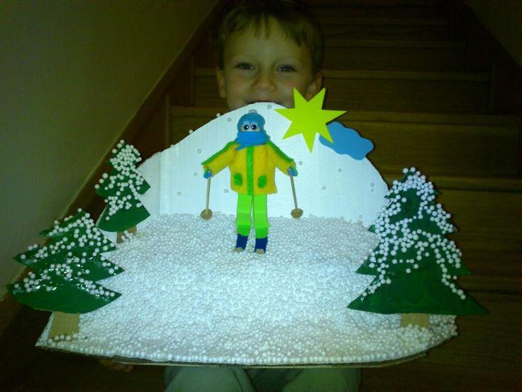 zimní dekorace do školky - odvážný lyžař