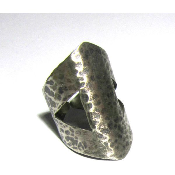Cut Out Silver Ring Handcrafted Geometric Wide Band Hand Hammered Open Cuff Adjustable Oxidized Metalwork Handmade Greek Jewelry For Her (€18) found on Polyvore featuring women's fashion, jewelry, hinged cuff bracelet, silver jewelry, hinged bracelet, antique jewelry and antique jewellery