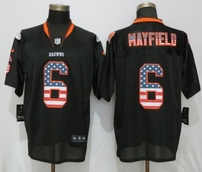 a8e514d1d Men Cleveland Browns 6 Mayfield USA Flag Fashion Black Elite Nike NFL  Jerseys