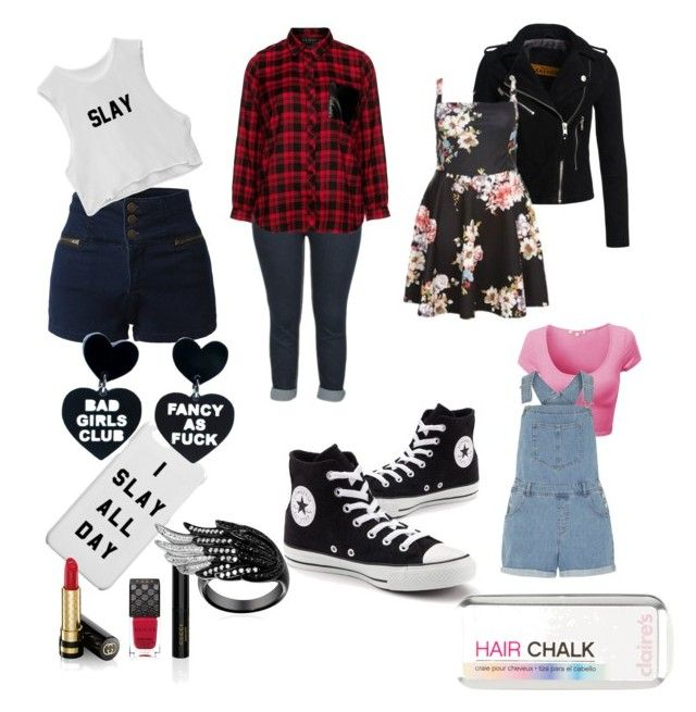 """""""Converse Universe"""" by lynetteamaro on Polyvore featuring Converse, Eloquii, Superdry, Dorothy Perkins, LE3NO and Gucci"""