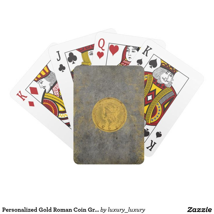 Personalized Gold Roman Coin Grungy Playing Cards