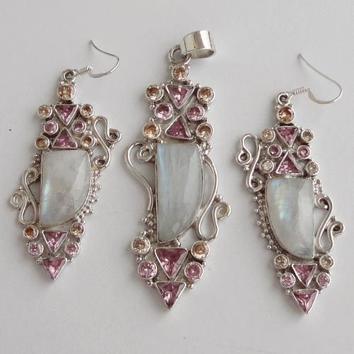 925 Sterling Silver Set 2 15/16''Rainbow,Cubic Zircon Gemstone Jewelry-SRG01459