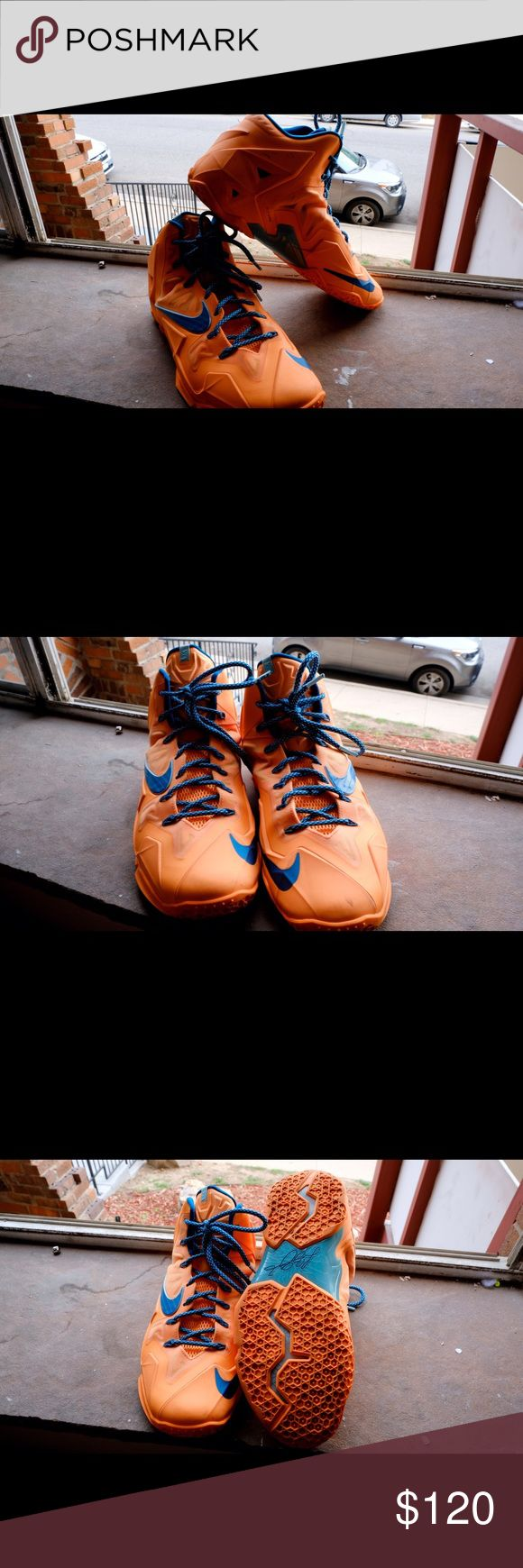 "Nike LeBron 11 ""Atomic Orange"" Size 11. Good traction and only some scratches. The bottom has discoloration, but no loss of traction or performance. Please comment if you have more questions. Nike Shoes Athletic Shoes"