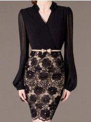 Women'  V Neck Long Sleeve Slim Bodycon-dress