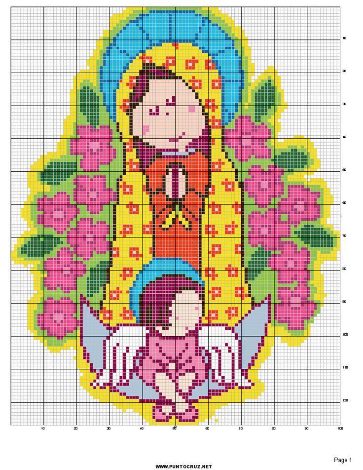 punto de cruz virgen de guadalupe gratis para imprimir | ... vas a hacer es descargar esta imagen de Guadalupe en punto de cruz