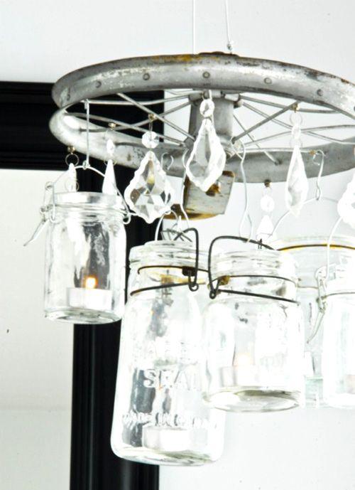 jar chandelier!: Ideas, Craft, Chandeliers, Mason Jars, Bike Wheels, Diy, Light, Mason Jar Chandelier