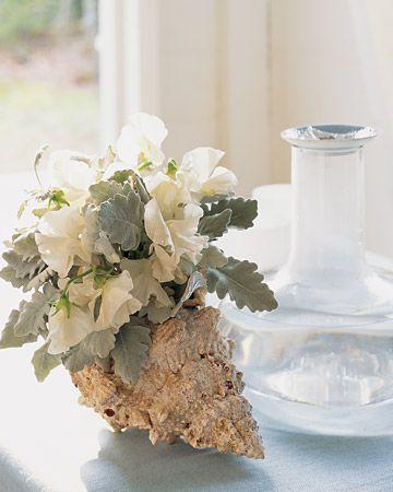 Flower arrangement in a sea shell - cute idea