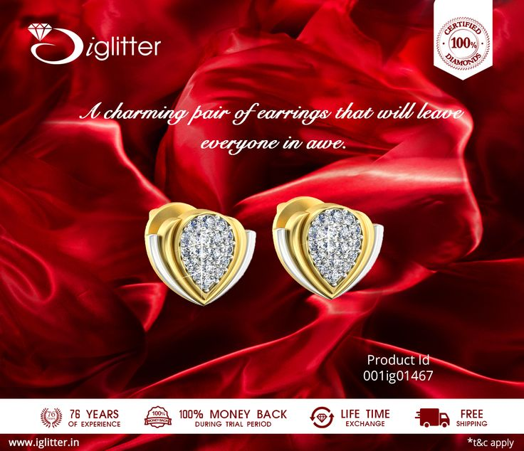 A charming pair of earrings that will leave everyone in awe. Shop Now : http://bit.ly/1VGO5B3  #iGlitterindia  #Diamonds #Jewellery #Earring