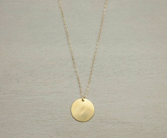 Large Gold Circle Necklace // Simple Everyday Necklace // LARGE DISC Necklace // Vermeil Gold Tag on 14K Gold Fill Chain