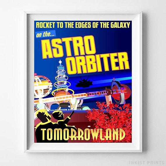Disneyland Astro Orbiter Tomorrowland Home Decor Poster - Prices from $9.95 - Click Photo for Details - #disneyland#disneyfan#disneyattractions#babyroomdecor#vintage#AstroOrbiter #Tomorrowland