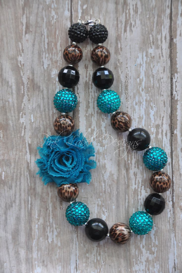 Black Teal & Leopard Print Chunky Bead Necklace by PinkLabelDesign, $20.00