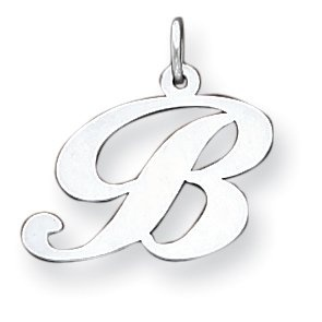 Sterling Silver Script Initial B Charm