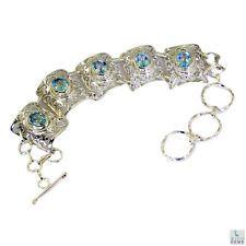 charming Blue Topaz Silver Blue Bracelet gemstone L-7.5in US